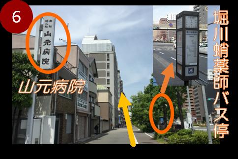 山元病院さんと「堀川蛸薬師」バス停の間を進みます。